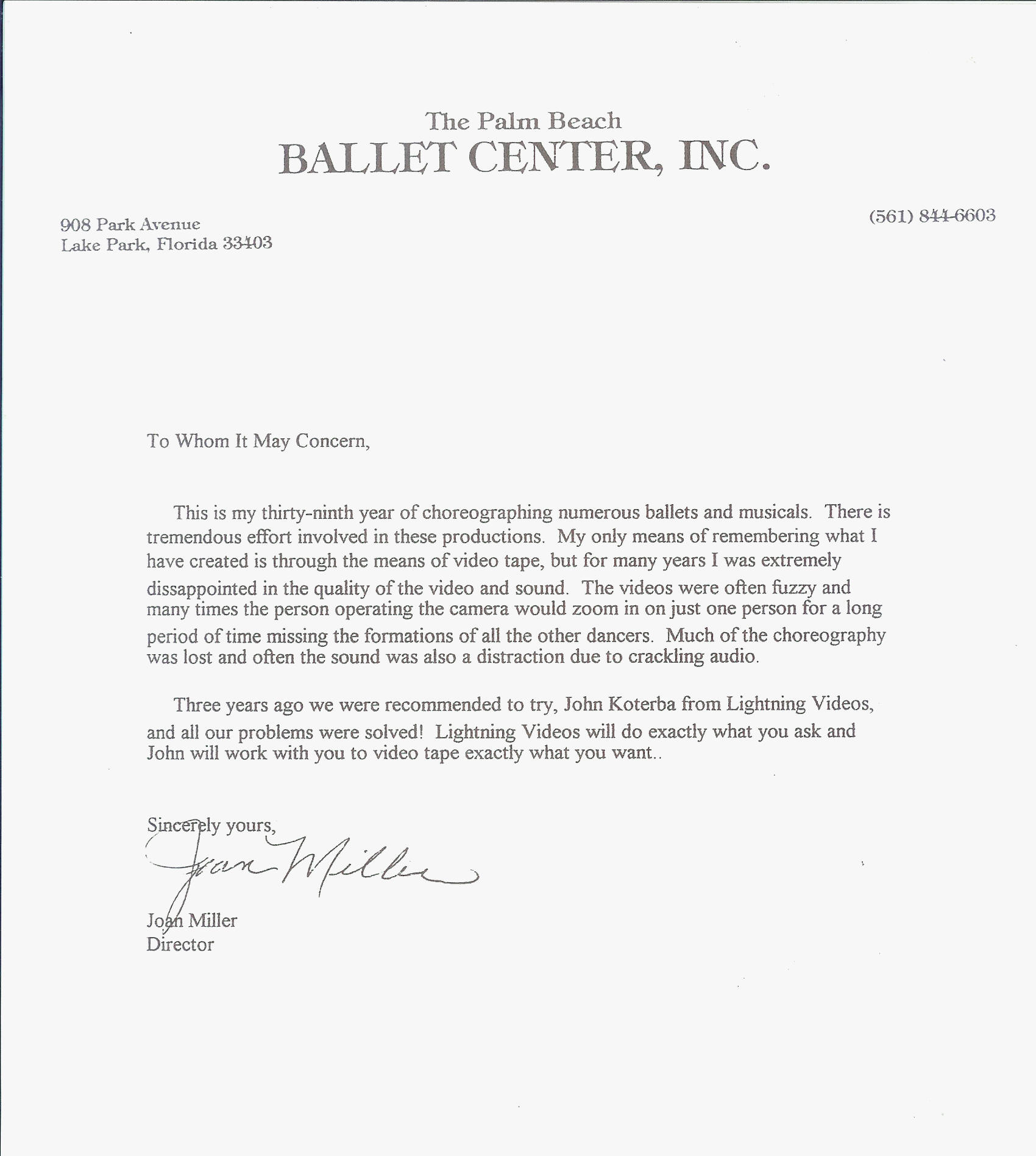 palm beach letter client raves lightning 13547 | Palm Beach Ballet Letter